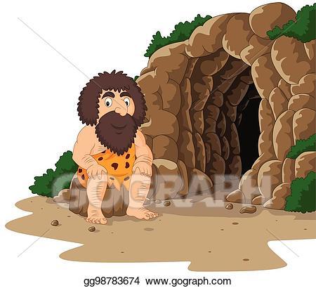 Vector art cartoon caveman. Cave clipart background