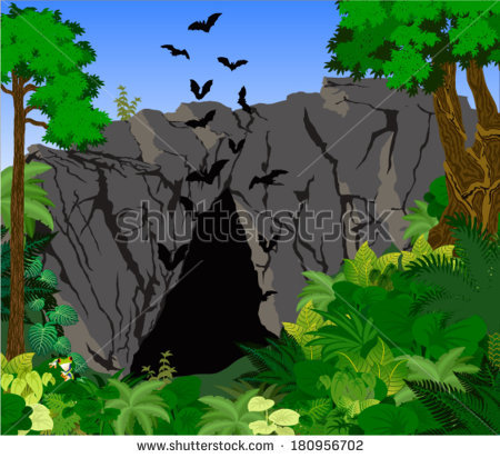 Cave clipart bat cave. Pencil and in color