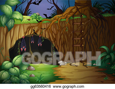Jungle clipart cave in. Eps vector a and