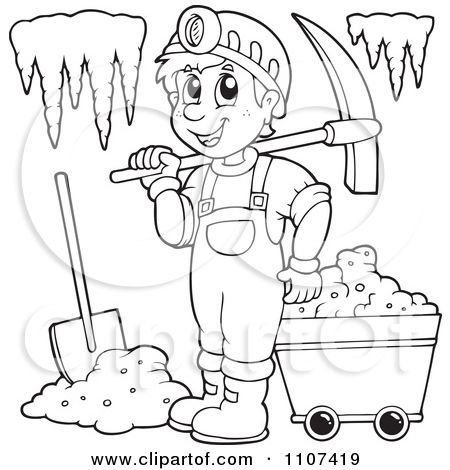 Outlined happy miner in. Cave clipart black and white