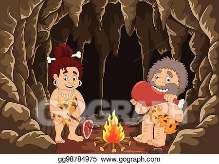 Vector cartoon couple with. Caveman clipart prehistoric