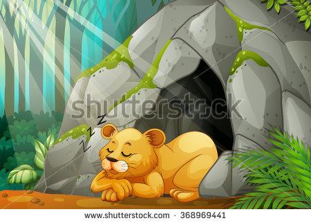 Lion station . Cave clipart cartoon
