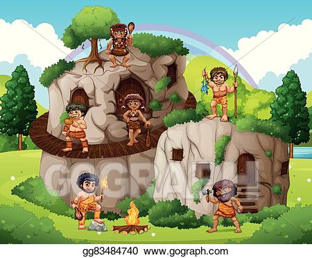 Vector stock people living. Cave clipart cave house