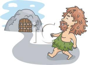 Cave clipart cave house. A caveman walking towards