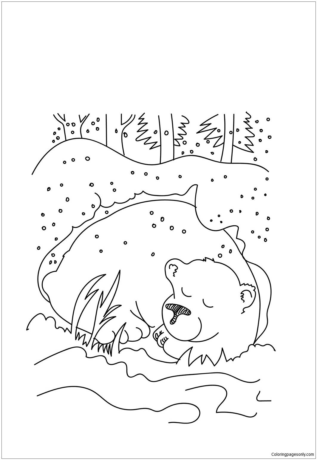 Cave clipart coloring page. Amazing hibernation pages bear
