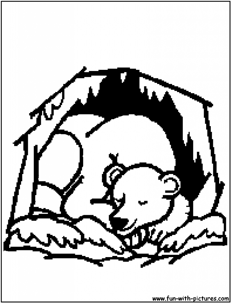 Cave clipart coloring page. Simple hibernating bear fresh