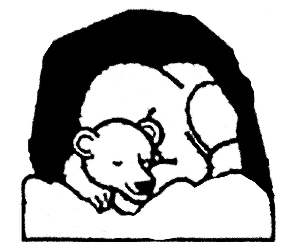 Color kid bear in. Cave clipart coloring page