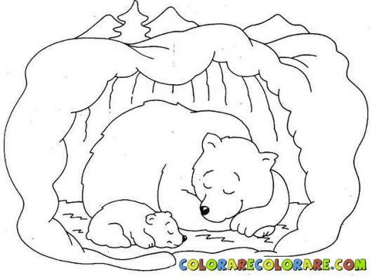 Bear drawing winter classroom. Cave clipart coloring page