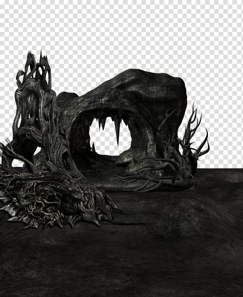 Cave clipart creepy. Dark black driftwood illustration