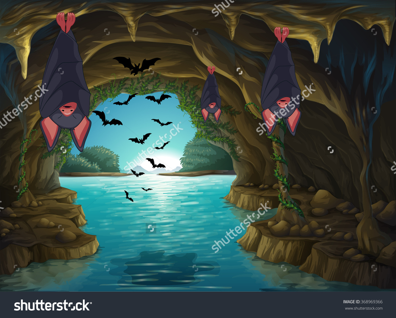 Bat water explore pictures. Cave clipart cute