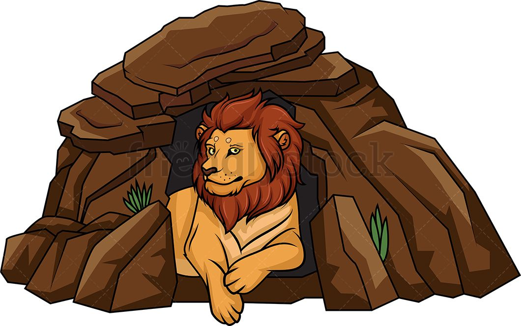 Cave clipart den. Lion lying in its