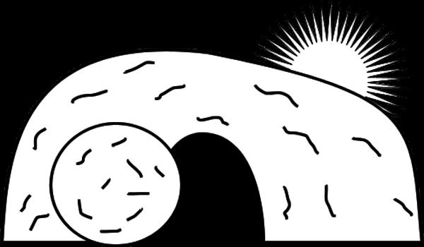 Black and white clip. Cave clipart den