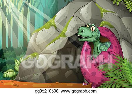 Cave clipart dinosaur. Vector stock hatching egg