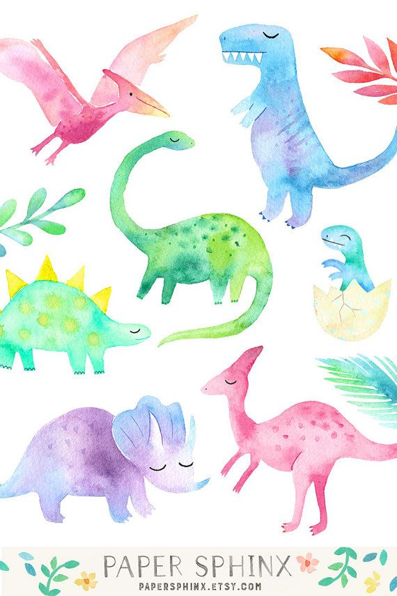 Watercolor girly clip art. Cave clipart dinosaur