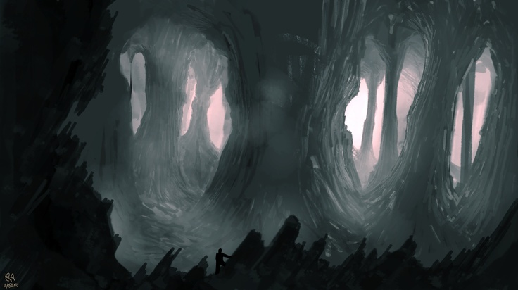 Drawn spooky pencil and. Cave clipart forest cave