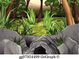 Vector art and drawing. Cave clipart forest cave