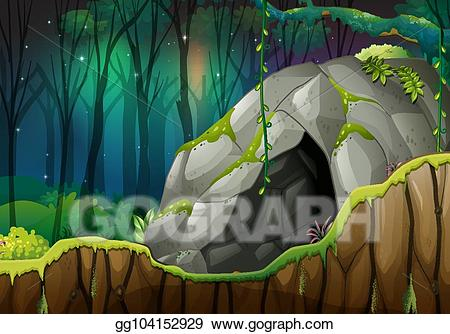 Vector art stone in. Cave clipart forest cave