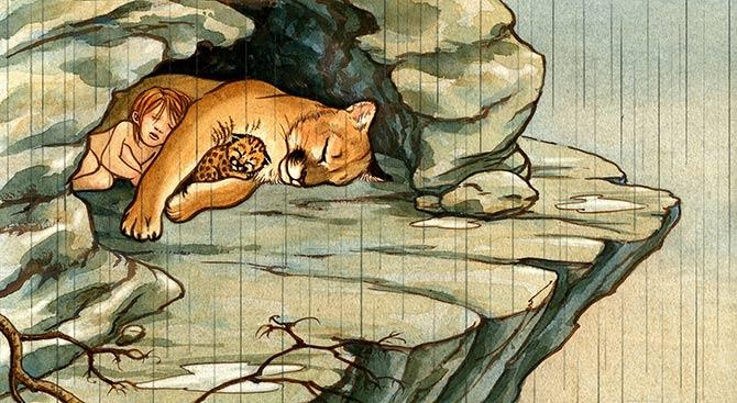 Lion . Cave clipart mountain cave