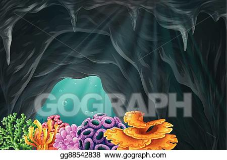 Clip art vector coral. Cave clipart underwater cave