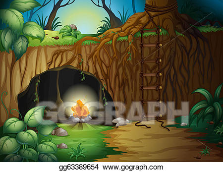 Stock a camp fire. Cave clipart vector