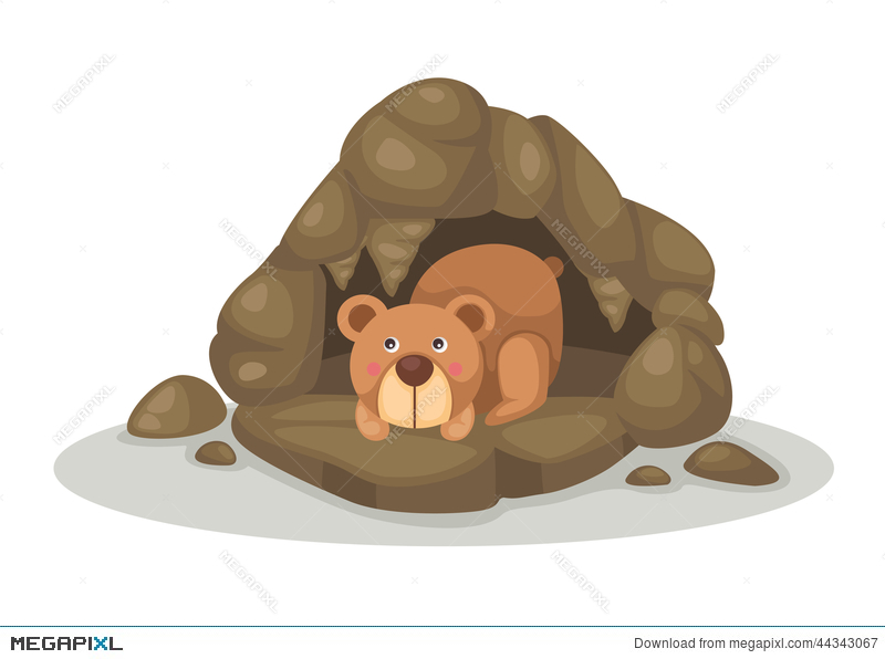 Cave clipart vector. Bear sleeping in illustration
