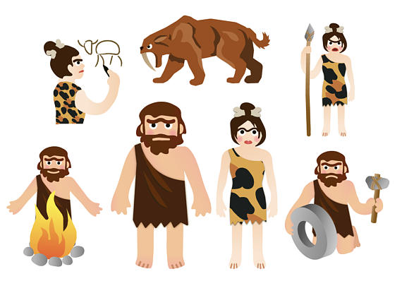 Neanderthal stone age prehistoric. Caveman clipart