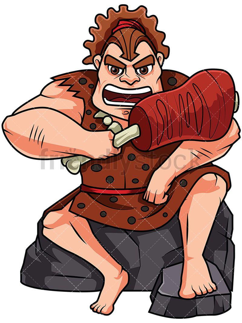 Caveman clipart big. Eating huge chunk of