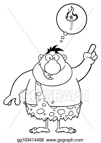 Caveman clipart big. Vector illustration cartoon character