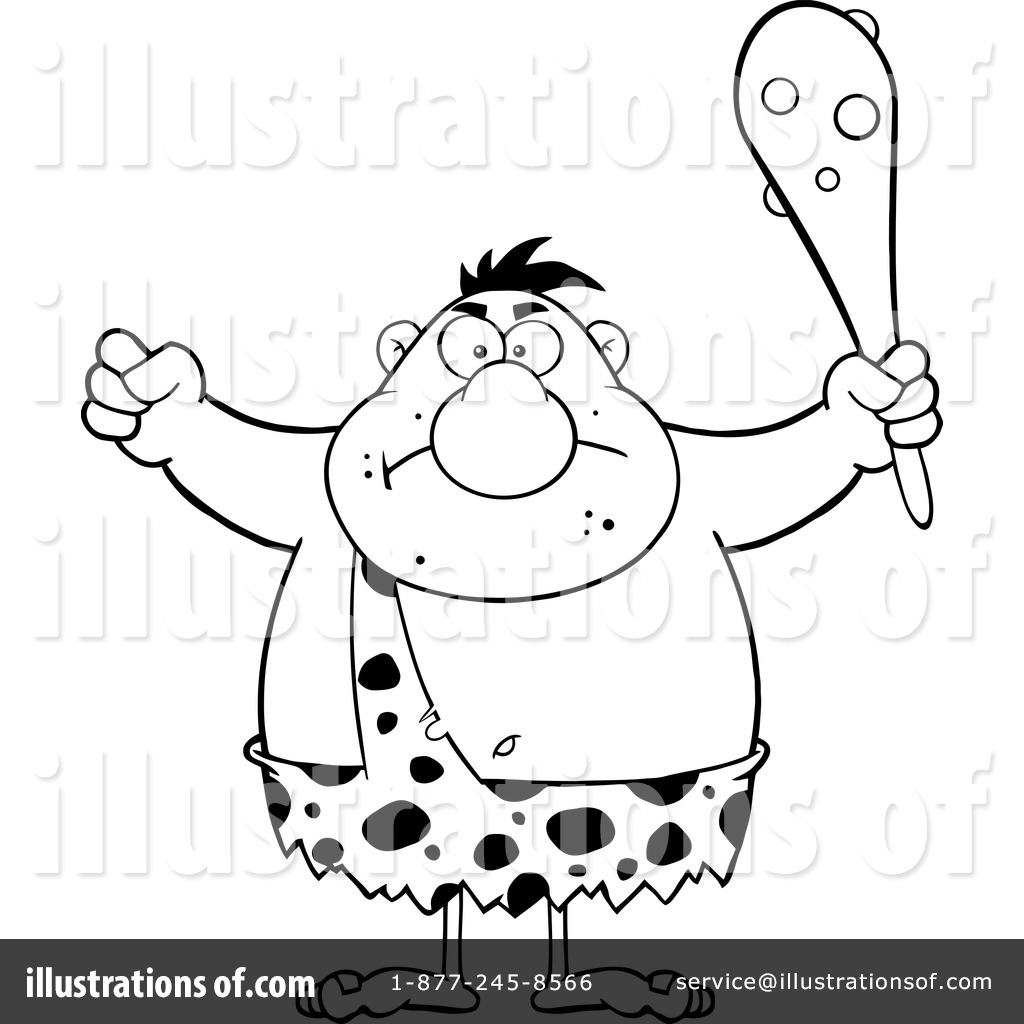Illustration by hit toon. Caveman clipart black and white