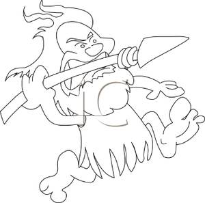 A cartoon of throwing. Caveman clipart black and white