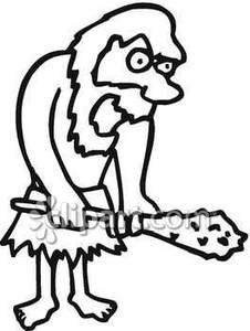 Royalty free picture . Caveman clipart black and white
