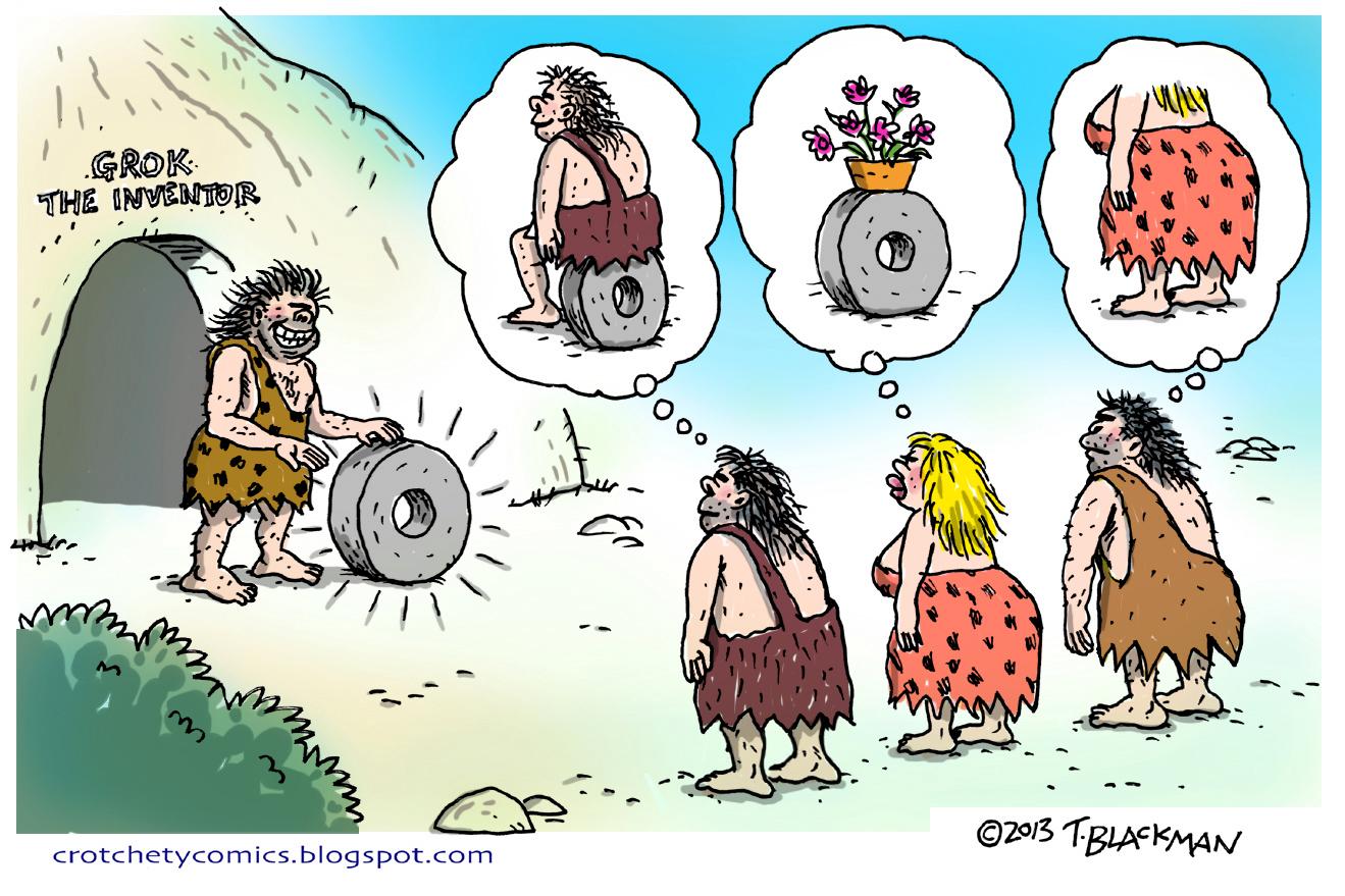 Crotchety comics grok invents. Caveman clipart caveman wheel