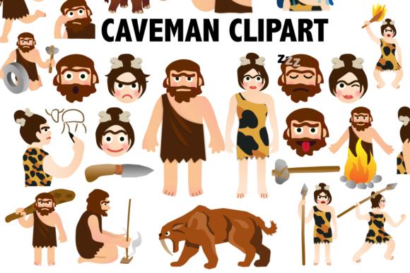 Caveman clipart group.