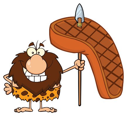 Caveman clipart happy. Holding a spear with