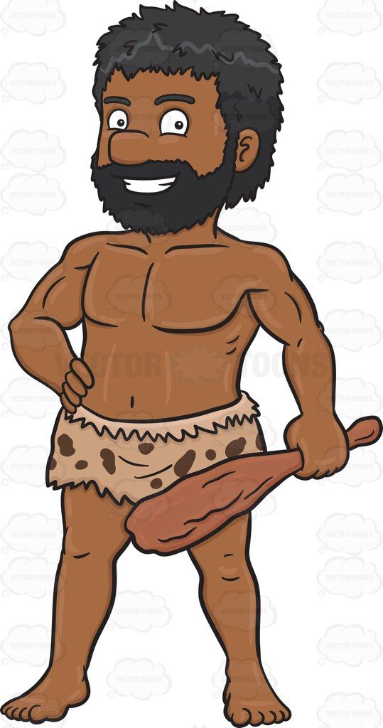 A black poses with. Caveman clipart hard stone