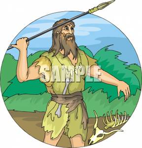 A with spear royalty. Caveman clipart hunting