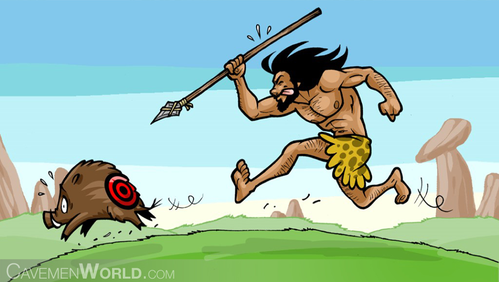 Caveman clipart hunting. Time management cavemenworld com