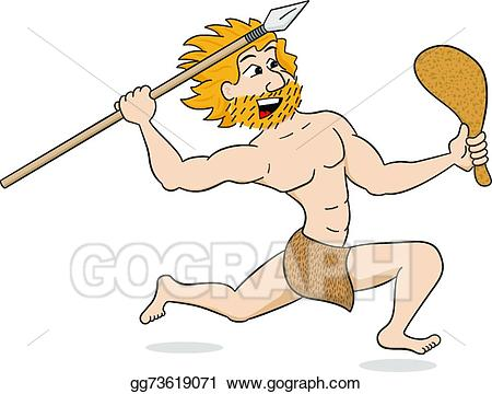 Vector illustration with spear. Caveman clipart hunting