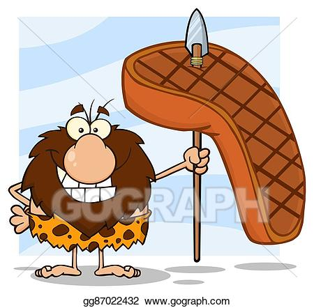 Caveman clipart hunting. Vector stock hunter with