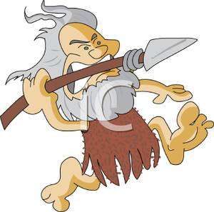 Caveman clipart hunting. A throwing spear royalty