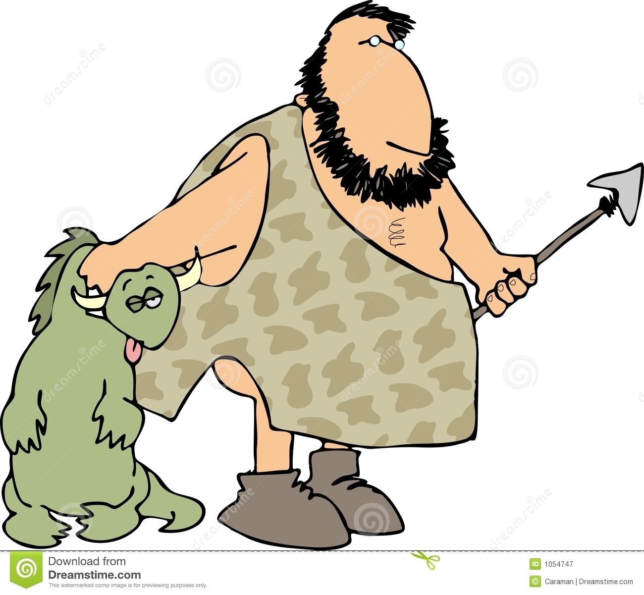Caveman clipart hunting. Pencil and in color