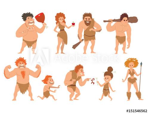 Caveman clipart neanderthal. Primitive stone age cartoon