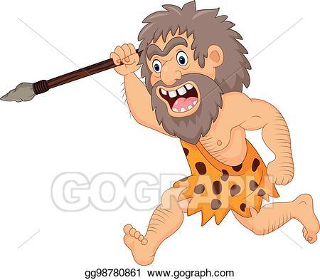 Caveman clipart spear. Eps vector cartoon hunting