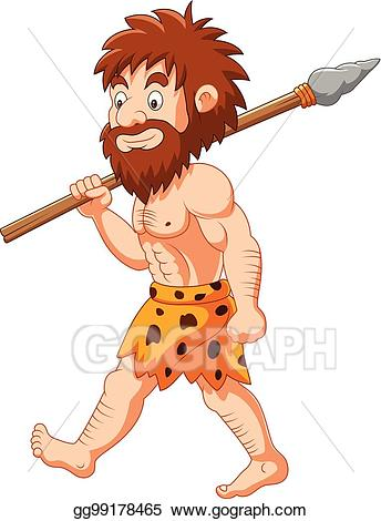 Eps vector cartoon hunting. Caveman clipart spear