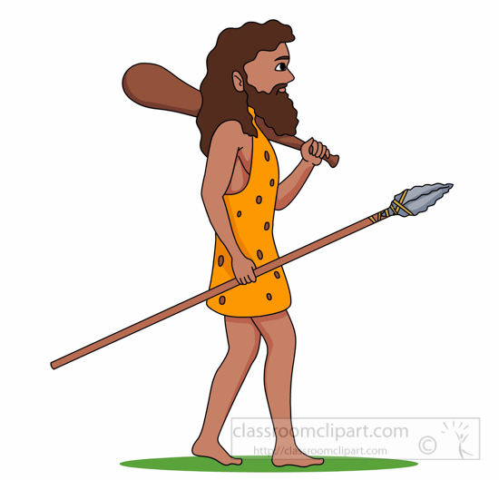 Prehistory cave man holding. African clipart spear