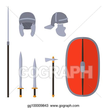 Warrior clipart weapon roman. Vector art set of