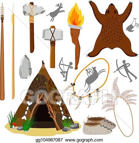 Vector primitive caveman elements. Hut clipart stone age