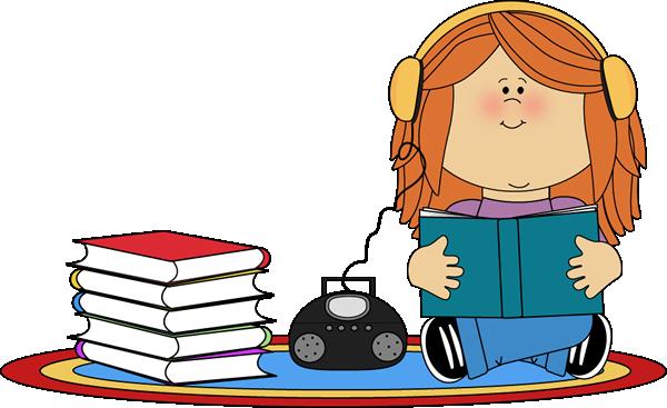 Headphones clipart literacy center. Books on cd