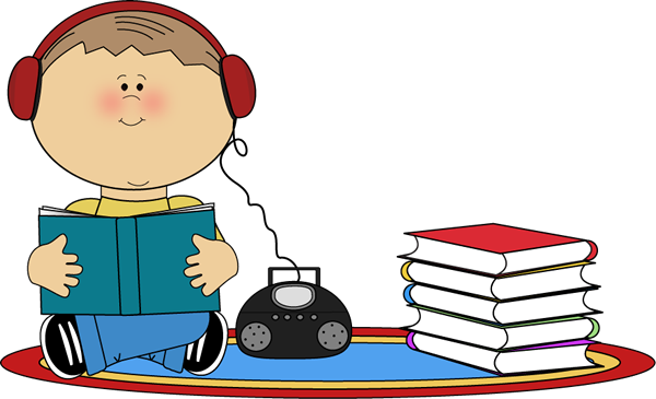 Cd clipart book. Boy listening to on