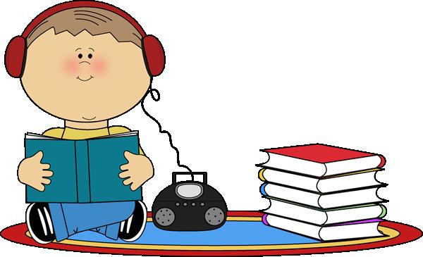 Baby clipart school. Boy listening to book